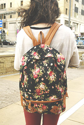 College trend - floral print backpack