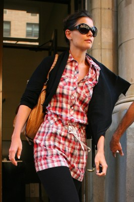 Katie holmes looks like a woman on a mission as she exits a building in nyc