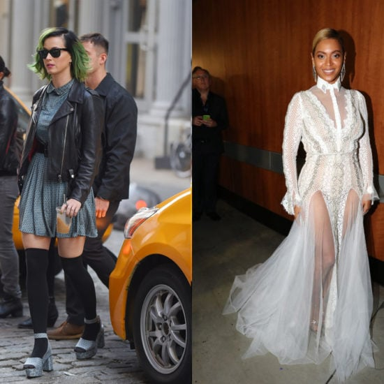 Katy Perry in a dress and leather jacket vs Beyonce in a white gown