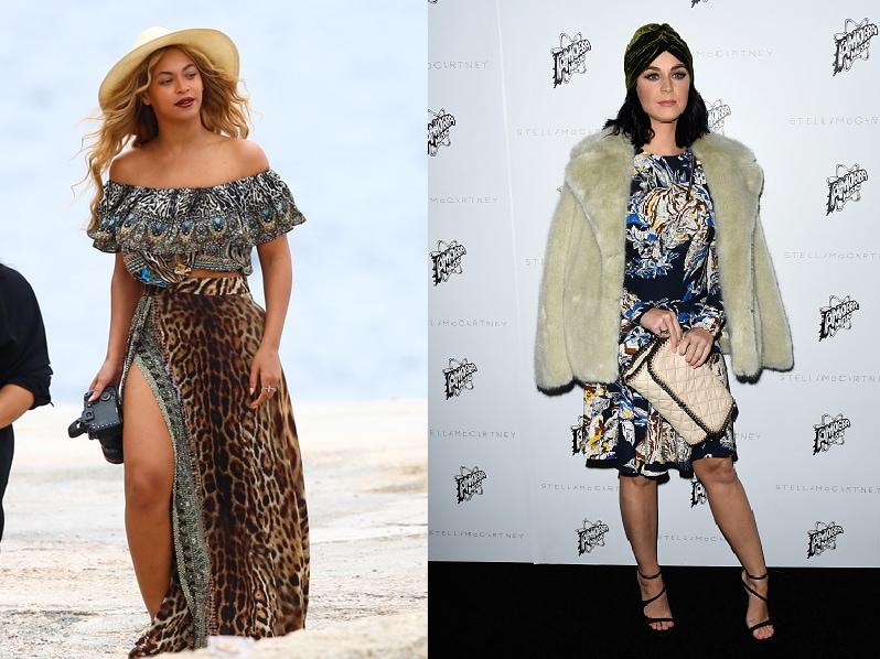 Beyonce wearing a boho maxi dress vs Katy Perry wearing a fur coat and turban
