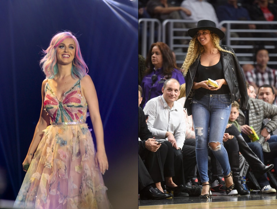 Katy Perry in a pink floral gown vs Beyonce in a leather jacket at the Nets game