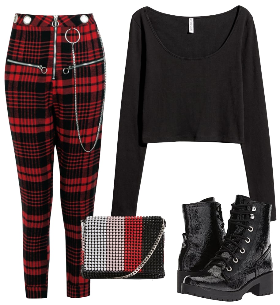 Kehlani Outfit: black long sleeve crop top, black faux patent leather lace-up boots, red and black plaid zipper and eyelet detail pants, and a beaded multicolor crossbody bag