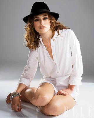 Keira knightley- white button-up, black hat