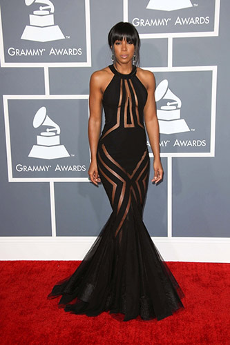 Kelly Rowland in Georges Chakra Couture at the 2013 Grammys