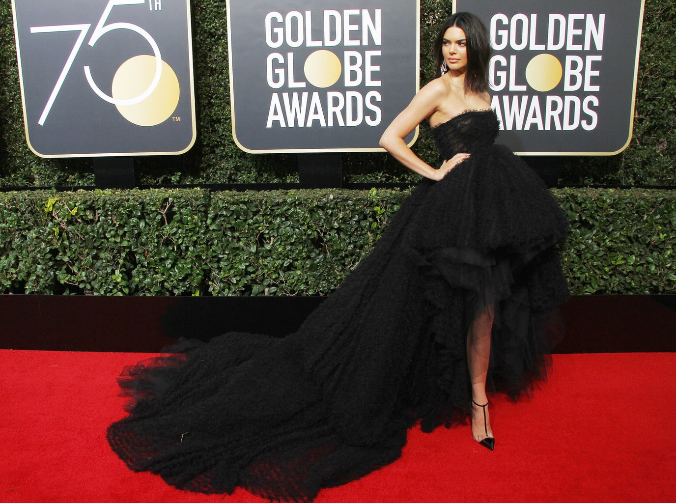 Kendall Jenner in a black Giambattista Valli gown at the 2018 Golden Globe awards