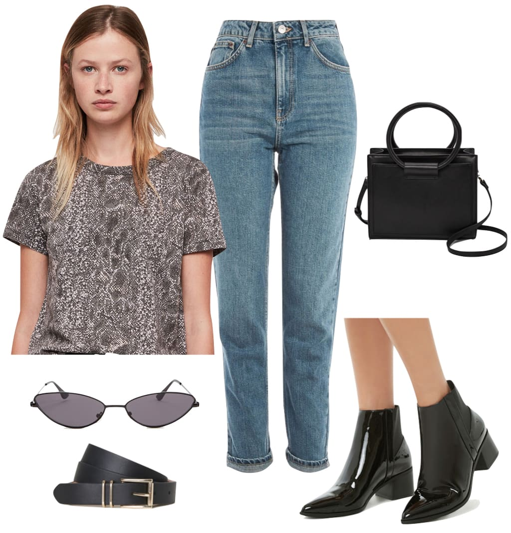 Kendall Jenner Outfit: snake print short sleeve t-shirt, high rise mom jeans, black mini satchel bag, small frame sunglasses, black and gold bet, and black patent pointy toe booties