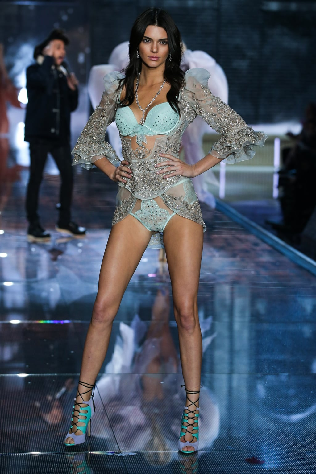 Kendall Jenner at the 2015 Victoria's Secret Fashion Show in ice blue