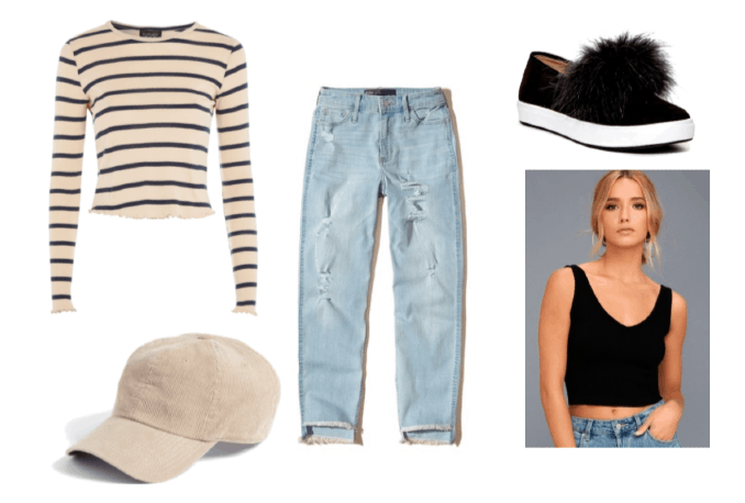 Kenny from The Walking Dead Outfit Set: Beige Baseball Cap, Striped Long Sleeve Top, Black Faux Fur Slip-Ons, Black Tank Top, and High-Rise Boyfriend Jeans