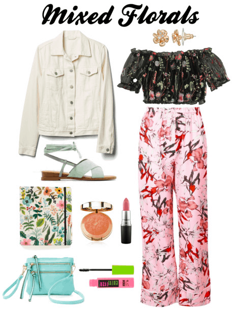 White denim jacket, teal sandals, planner, blush, lipstick, floral top and pants, flower earrings, purse, mascara
