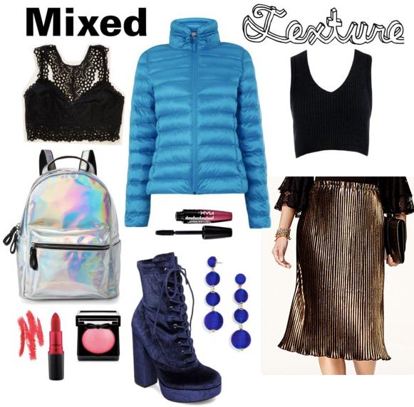 Outfit inspired by Kenzo - Bralette, backpack, red lipstick, blush, blue velvet booties, puffer jacket, mascara, drop earrings, crop top, metallic midi skirt