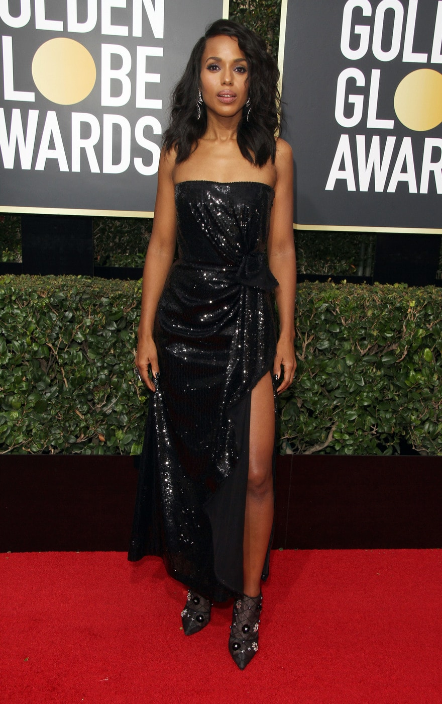Kerry Washington in a black strapless Prabal Gurung gown at the 2018 Golden Globe Awards red carpet