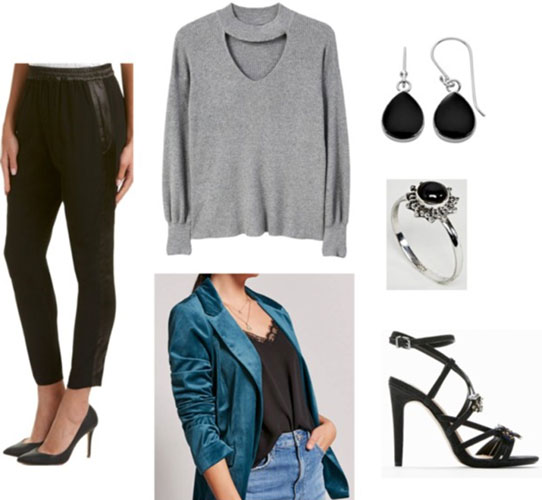 Outfit idea for New Year's Eve with tuxedo pants, a gray cutout sweater, a teal velvet blazer, black teardrop earrings, a black ring, and black strappy heels