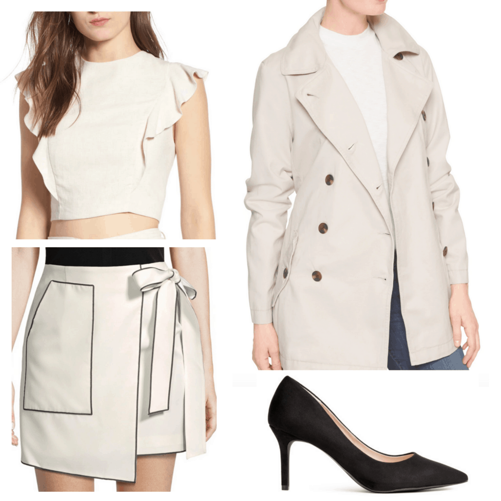 beige blouse with khaki skirt, khaki trench skirt and black pumps