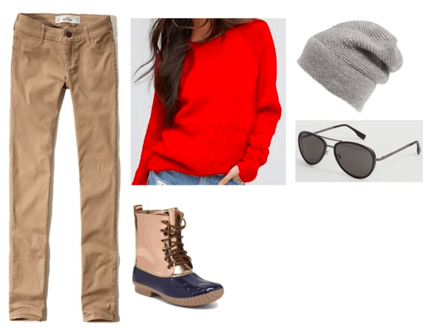 Codename: Kids Next Door inspired outfits | Nigel Uno Numbuh 1 Number One - red chunky sweater, khakis, duck boots, gray beanie, aviators