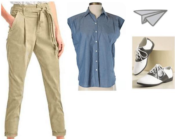 Codename: Kids Next Door fashion | Number 2 vintage blue short sleeve button up, paper bag waist khakis, oxford flats, airplane lapel pin
