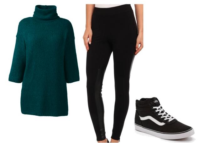 Codename: Kids Next Door fashion | Number 3 - dark green slouchy sweater, black ponte knit leggings, black sneakers