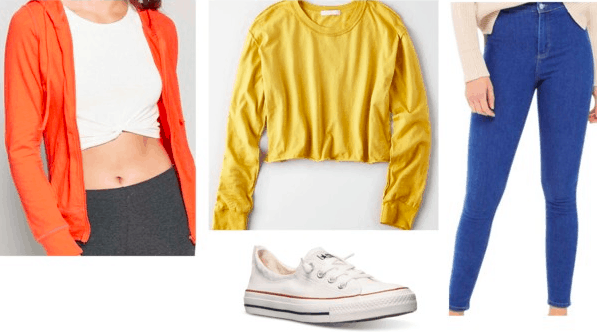 Codename: Kids Next Door fashion | Number 4 orange zip-up hoodie, yellow pullover, bright blue jeans, white converses