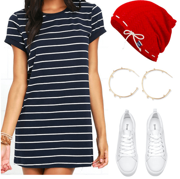 Codename: Kids Next Door fashion | Number 5 navy and white striped t-shirt dress, red beanie, gold hoop earrings, white sneakers