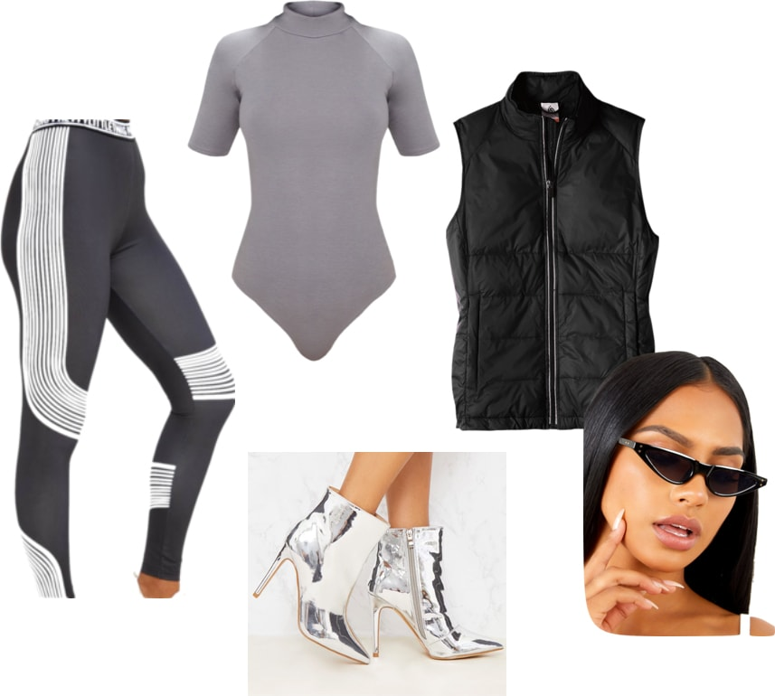 Outfit inspired by Kim Kardashian's Tokyo trip and yeezy Season 7 clothes: leggings, bodysuit, vest, 90s glasses, silver boots
