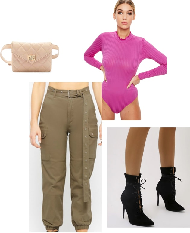 Outfits inspired by Kim Kardashian's trip to Tokyo and her Yeezy Season 7 outfits. Pink top, cargo pants, heeled booties, fanny pack