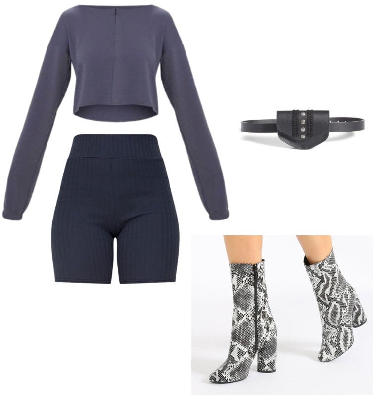 Outfit inspired by kim kardashian's tokyo trip in her Yeezy Season 7 clothes; biker shorts, fanny pack, grey blue, snake boots