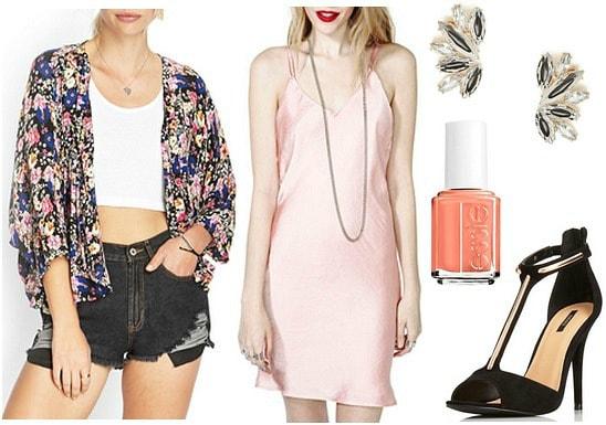 Kimono jacket, slip dress, heeled sandals