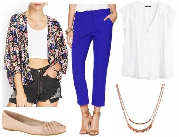 Kimono jacket, white blouse, cobalt pants, flats