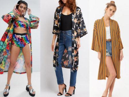 Kimono style with ASOS colorful kimono, Charlotte Russe floral kimono, and Forever 21 pin stripe kimono