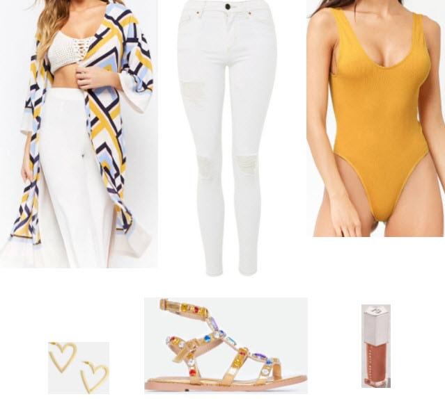 Kimono outfit for class with geo print kimono, white denim jeans, mustard bodysuit, gold heart earrings, fenty beuaty lip gloss, and gladiator jewel sandals.
