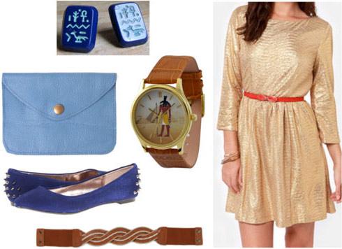 Outfit inspired by King Tutankhamen's Golden Funerary Mask: Gilded gold dress, bold cobalt accessories, gold belt