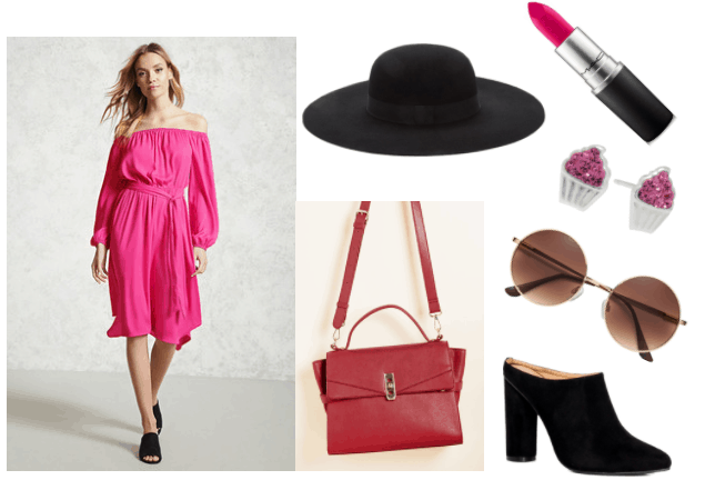 Outfit inspired by Kirby from Kirby video game series: pink MAC lipstick, cupcake stud earrings, black high-heeled mules, round sunglasses, wool black hat, pink satin dress, red faux-leather satchel