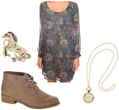 How to wear Kmart desert boots with a floral dress