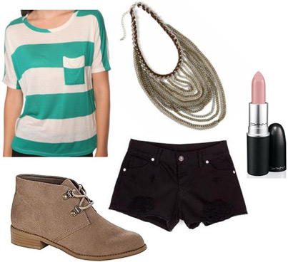 How to wear Kmart desert boots with a striped tee shirt and denim shorts