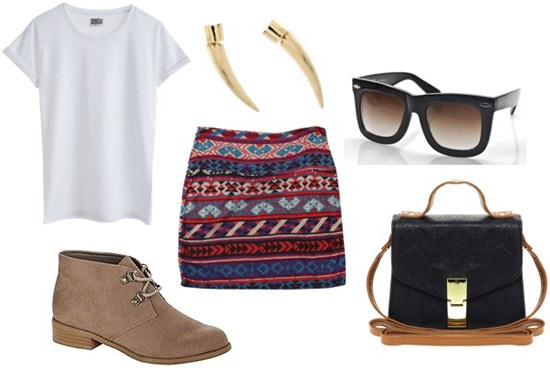 How to wear Kmart desert boots with a tribal-print skirt and white tee