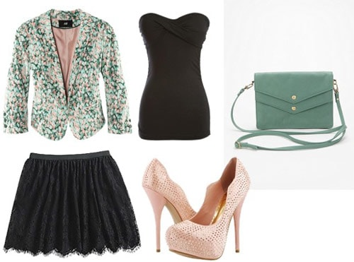 Outfit idea: KMart lace skirt with a printed jacket, black tube top and sky-high light pink heels