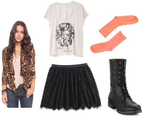 Outfit idea: KMart lace skirt with a leopard print jacket, diamond graphic tee, socks and combat boots
