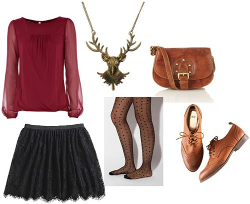 Outfit idea: KMart lace skirt with a sheer red top, tights, oxfords, and a caramel brown bag