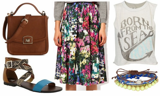 Kmart sandals, floral skirt, graphic tee