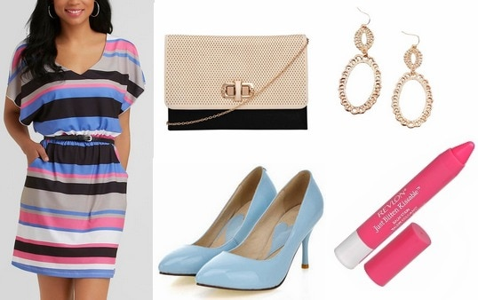 Kmart striped dress, blue pumps, two tone clutch
