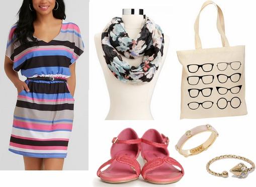 Kmart striped dress, floral scarf, pink sandals
