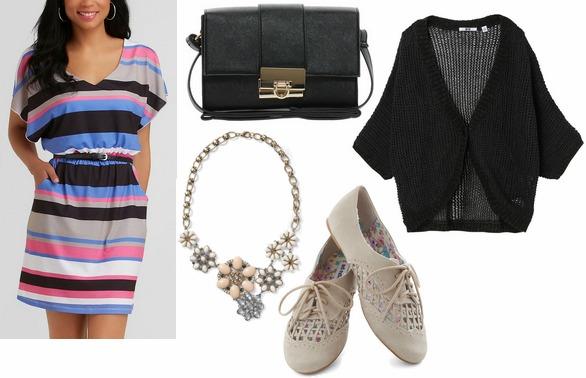 Kmart striped dress, oxfords, statement necklace