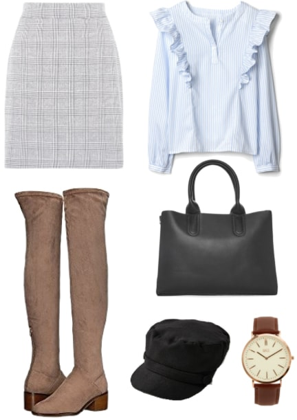 How to transition knee high boots from winter to spring: Outfit with knee-high boots, plaid ruffle top, houndstooth skirt, black leather bag, newsboy cap, and a brown leather watch.