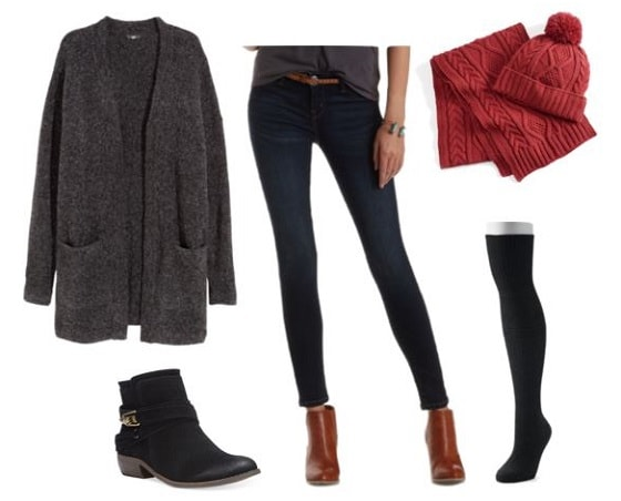 Layering knee socks over jeans