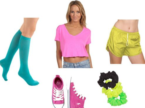 knee high neon outfit
