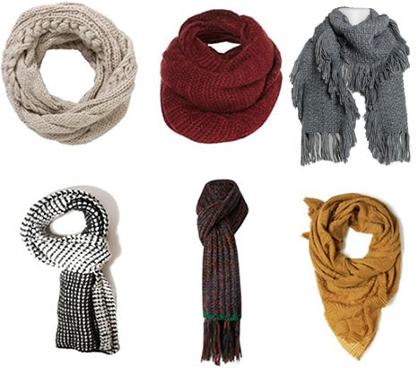 Knit scarves for cold weather