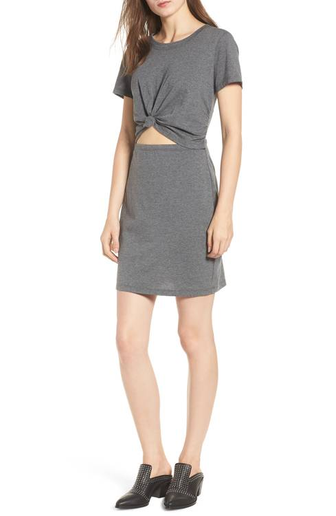 Photo of brunette model wearing a grey cutout tie front dress.