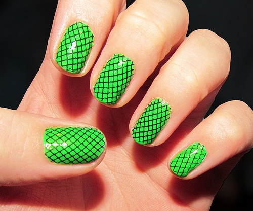 Konad nail stamping - lime green with black