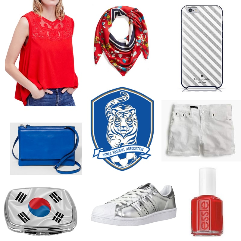 World Cup outfit inspired by Korea: Red top, blue crossbody bag, white shorts, silver Adidas superstars, red nail polish, striped phone case, red scarf