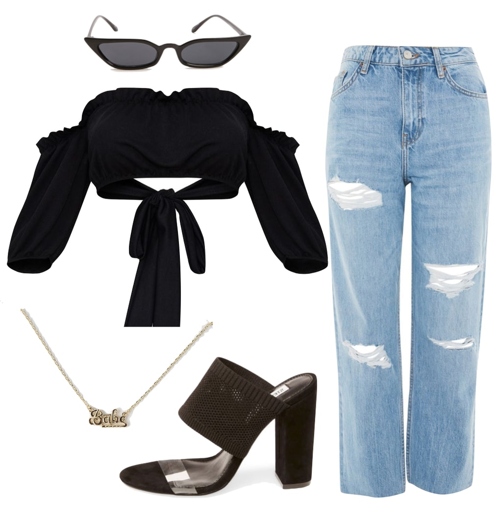 Kourtney Kardashian Outfit: black off the shoulder crop top, high waist ripped boyfriend jeans, skinny cat-eye sunglasses, Babe nameplate necklace, and mesh mule heels