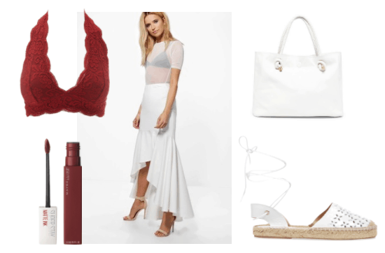 Summer outfit idea inspired by Kratos from God of War: White long skirt, white lace-up espadrilles with laser cut detail, white tote bag, red lipstick, red lace bralette